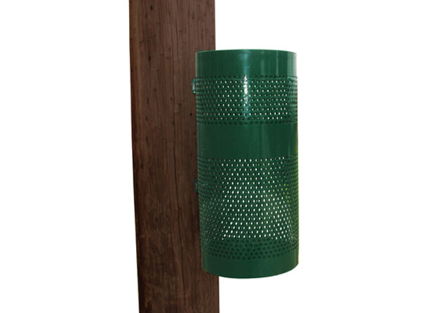 Perforated steel pole mount cut